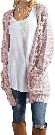 Traleubie Women's Loose Casual Long Sleeved Open Front Cardigans Sweater with Pocket Light Pinki S at Amazon Women's Clothing store