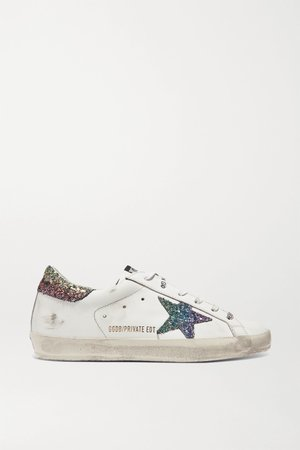 White Superstar glittered distressed leather sneakers | Golden Goose | NET-A-PORTER