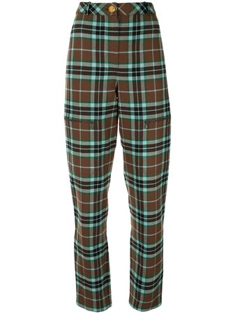 Chanel Pre-Owned Plaid Tapered Trousers - Farfetch