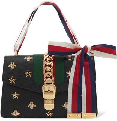 Sylvie Small Chain-embellished Printed Textured-leather Shoulder Bag - Black