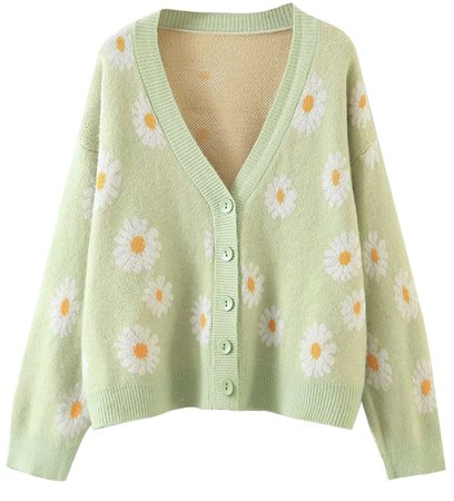 green floral sweater