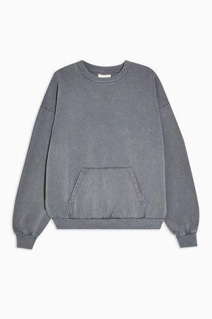 Charcoal Grey Stonewash Pocket Sweatshirt | Topshop