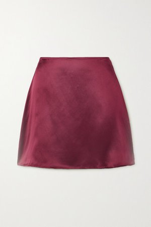 Benson Silk-satin Mini Skirt - Platinum