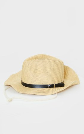 Natural Straw Western Fedora Hat | PrettyLittleThing USA