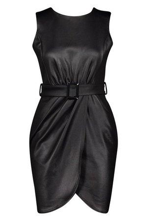 PU Belted Wrap Bodycon Dress | Boohoo
