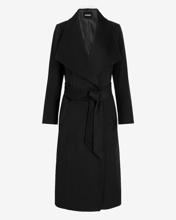 Wool-Blend Belted Shawl Collar Wrap Coat