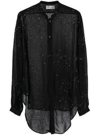 Saint Laurent Embellished Sheer Shirt - Farfetch