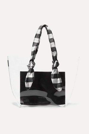 Lydia Pvc, Leather And Gingham Canvas Tote - Black
