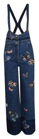Valentino Blue Indigo Butterfly Embroidered Denim Bib Overalls M Pant Suit Size 8 (M) - Tradesy