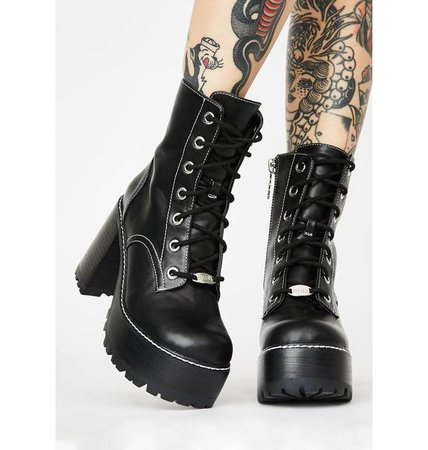 Chunky Platform Lace Up Heeled Boots