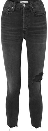 Power Stretch High-rise Ankle Crop Distressed Skinny Jeans - Black