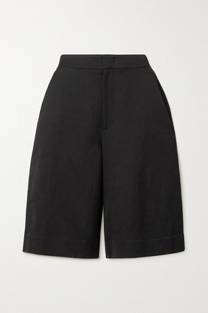 Linen-blend Shorts - Black