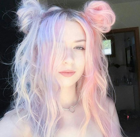 Cotton Candy Pastel Goth Hair Girl