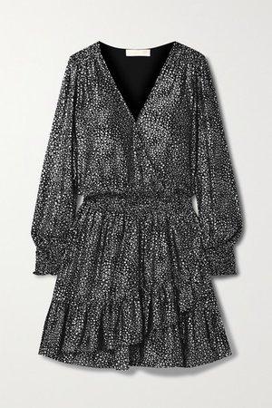 Wrap-effect Ruffled Metallic Printed Georgette Mini Dress - Black