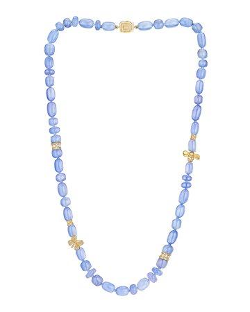 Mimi So Wonderland Blue Chalcedony and Diamond Necklace