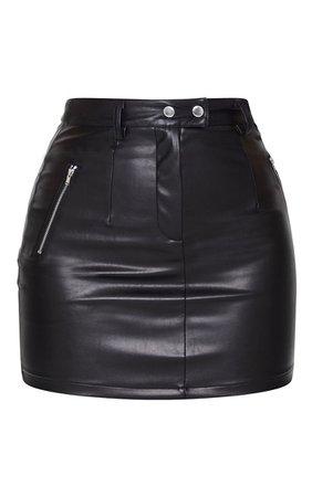 Black PU Bodycon Mini Skirt   PrettyLittleThing USA