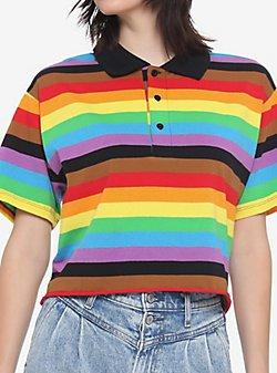 Rainbow Stripe Girls Polo Shirt - Hot Topic