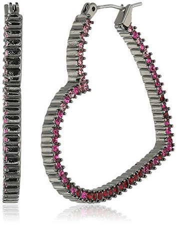 """Betsey Johnson """"Hearts and Arrows"""" Pave Hoop Earrings: Clothing"""