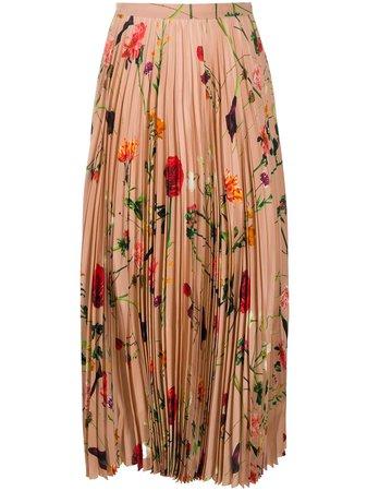 Valentino Floral Print Pleated Skirt - Farfetch