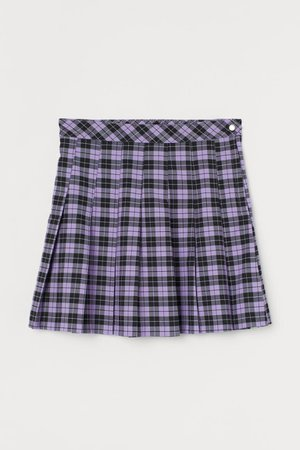 Pleated Skirt - Purple/black plaid - Ladies | H&M US