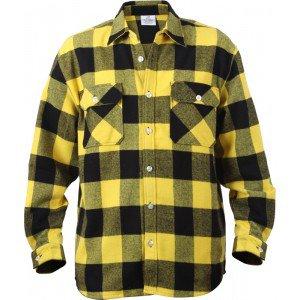Yellow Extra Heavyweight Brawny Buffalo Plaid Flannel Shirt