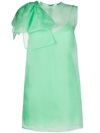 Shop green MSGM bow-shoulder sleeveless dress with Express Delivery - Farfetch