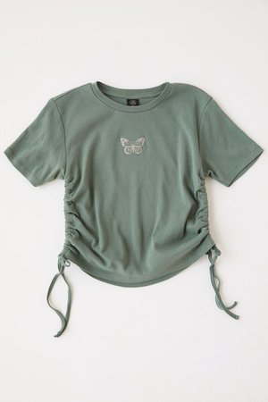 Butterfly Ruched Side-Tie Tee   Urban Outfitters