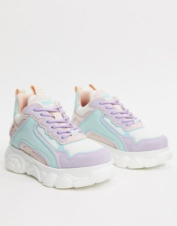 chunky sneakers in pastel multi