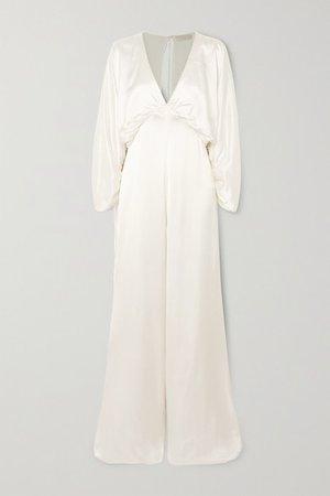 Backless Washed-satin Jumpsuit - Ivory