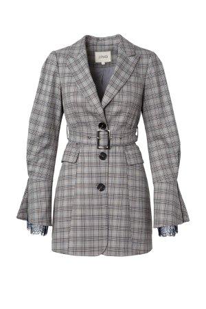 J.ING Grey Plaid Belted Blazer Dress