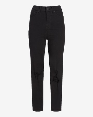 Super High Waisted Black Ripped Mom Jeans | Express