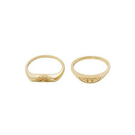 Sun & Moon Gold Ring Set – Wanderlust + Co