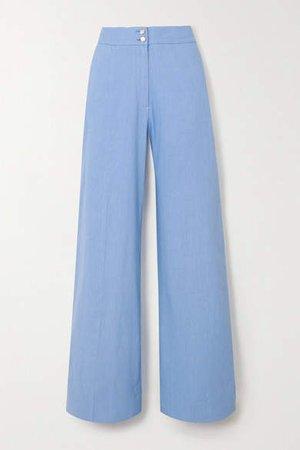 Sophia Linen-blend Wide-leg Pants - Lilac
