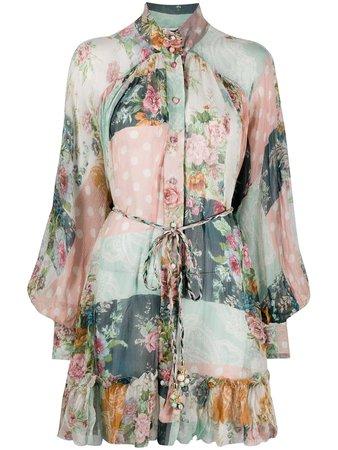 Zimmermann Wavelength Smocked Shirt Dress