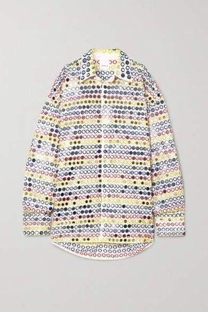 Oversized Sequin-embellished Cotton-poplin Shirt - White