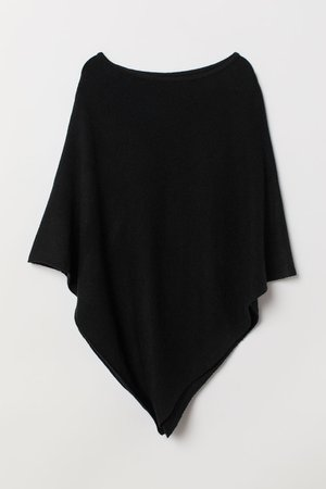 Knitted poncho - Black -   H&M