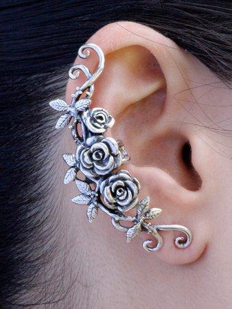 silver cuff rose earring