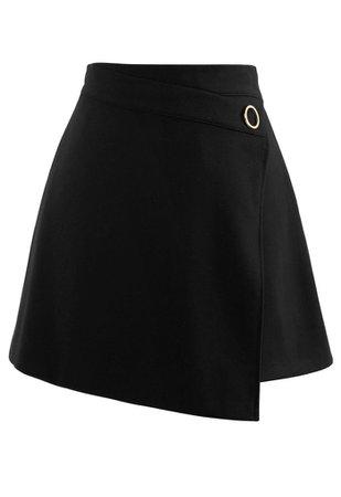 O-Ring Detail Asymmetric Hem Mini Skirt in Black - Retro, Indie and Unique Fashion