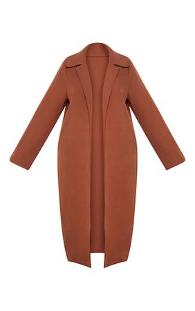 Plus Chocolate Brown Longline Duster Coat | PrettyLittleThing USA