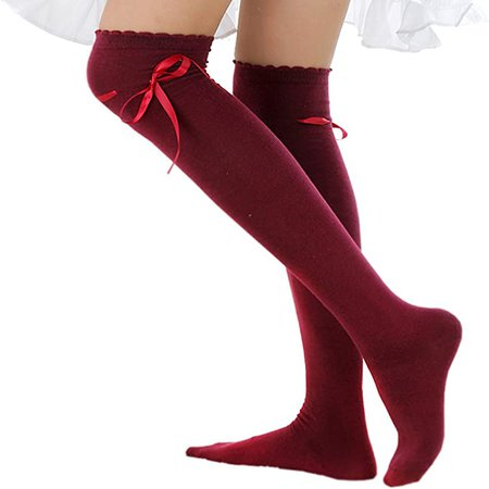 Amazon.com: Women's Thigh High Socks Lolita Gothic Over Knee Lace Up Thigh Stocking PTK12 (Black New): Clothing