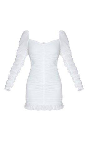 White Ruched Frill Hem Bodycon Dress | PrettyLittleThing