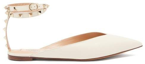 Rockstud Hype Leather Flats - Womens - Cream