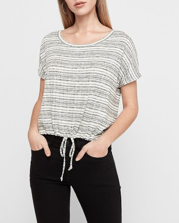 Striped Cinched Tie Tee