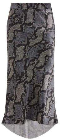 Bias Godet Geo Snake Print Silk Slip Skirt - Womens - Navy Print