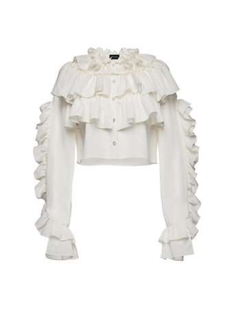 white ruffled button up blouse
