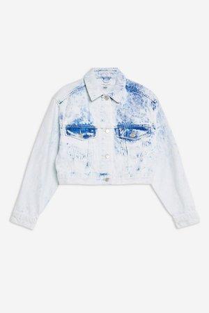 Acid Wash Denim Cropped Jacket | Topshop