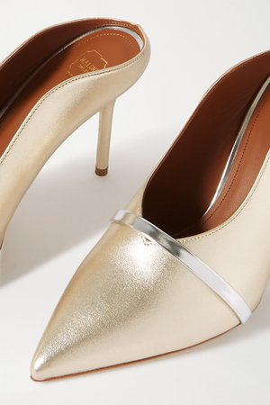 Malone Souliers | Constance 85 metallic leather mules | NET-A-PORTER.COM