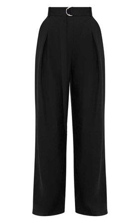 Black Wide Leg Tie Waist Trousers. Trousers | PrettyLittleThing
