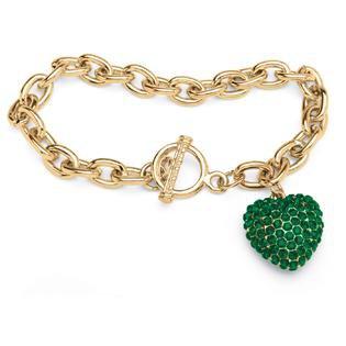 PalmBeach Jewelry Crystal Heart Charm Birthstone Toggle Bracelet in Yellow Gold Tone