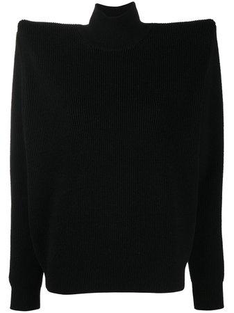 Balenciaga exaggerated-shoulder high-neck Jumper - Farfetch